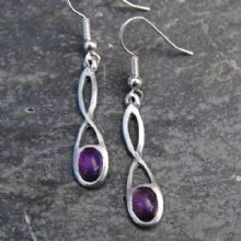 Celtic twist knot earrings with amethyst  E17